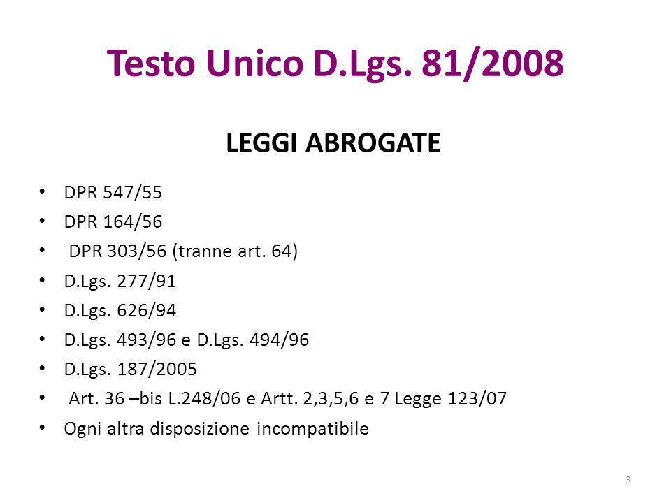Testo Unico D.Lgs. 81/2008 LEGGI ABROGATE DPR 547/55 DPR 164/56 DPR 303/56 (tranne art. 64) D.Lgs. 277/91 D.Lgs. 626/94 D.Lgs. 493/96 e D.Lgs. 494/96