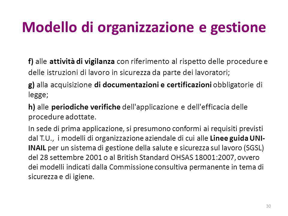 Modello di organizzazione e gestione f) alle attività di vigilanza con riferimento al rispetto delle procedure e delle istruzioni di lavoro in sicurez