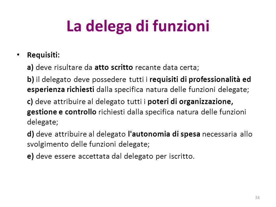 La delega di funzioni Requisiti: a) deve risultare da atto scritto recante data certa; b) il delegato deve possedere tutti i requisiti di professional
