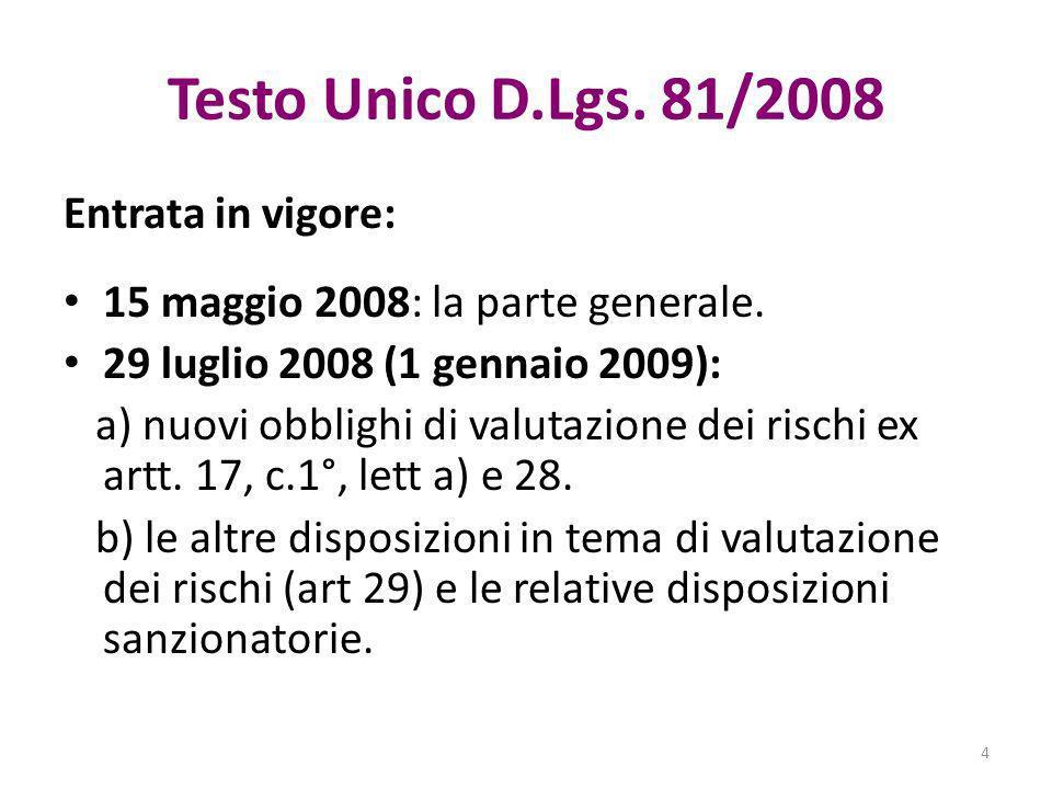Testo Unico D.Lgs. 81/2008 Entrata in vigore: 15 maggio 2008: la parte generale. 29 luglio 2008 (1 gennaio 2009): a) nuovi obblighi di valutazione dei