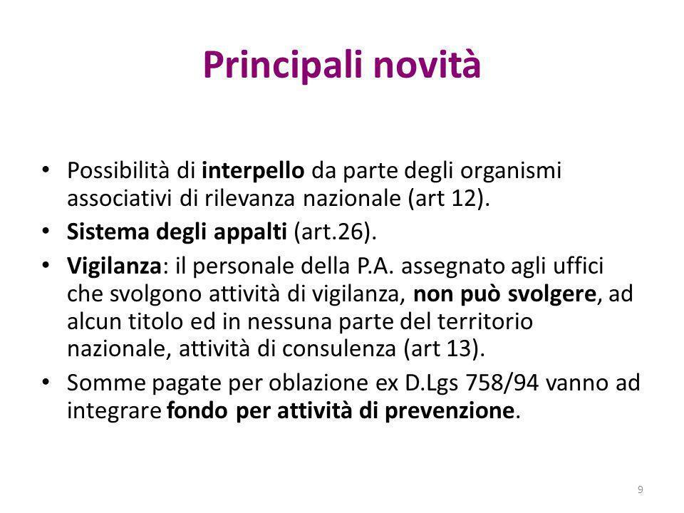 Principali novità Possibilità di interpello da parte degli organismi associativi di rilevanza nazionale (art 12). Sistema degli appalti (art.26). Vigi