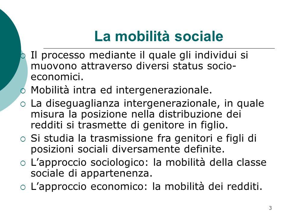 3 La mobilità sociale Il processo mediante il quale gli individui si muovono attraverso diversi status socio- economici. Mobilità intra ed intergenera