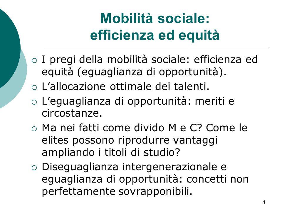 Mobilità sociale: efficienza ed equità I pregi della mobilità sociale: efficienza ed equità (eguaglianza di opportunità). Lallocazione ottimale dei ta