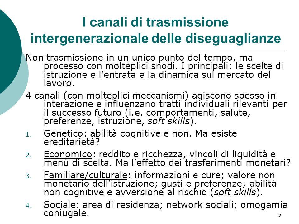 5 I canali di trasmissione intergenerazionale delle diseguaglianze Non trasmissione in un unico punto del tempo, ma processo con molteplici snodi. I p