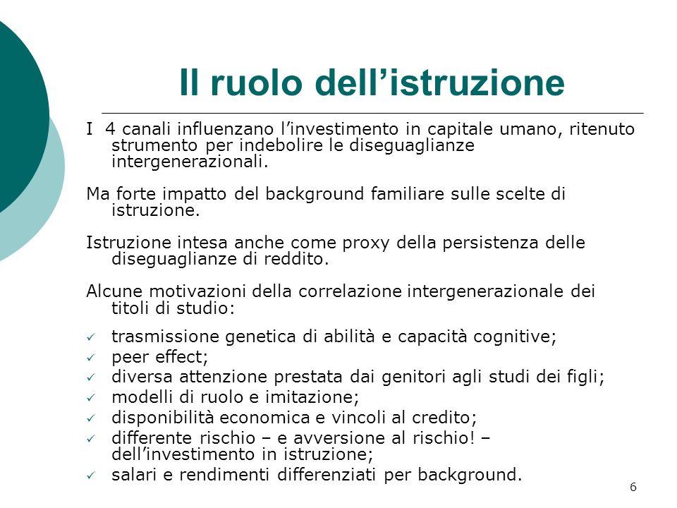 6 Il ruolo dellistruzione I 4 canali influenzano linvestimento in capitale umano, ritenuto strumento per indebolire le diseguaglianze intergeneraziona
