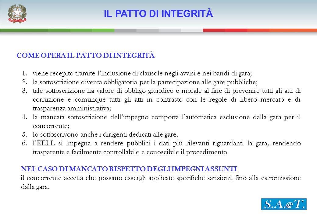 IL PATTO DI INTEGRITÀ COME OPERA IL PATTO DI INTEGRITÀ 1.viene recepito tramite linclusione di clausole negli avvisi e nei bandi di gara; 2.la sottosc