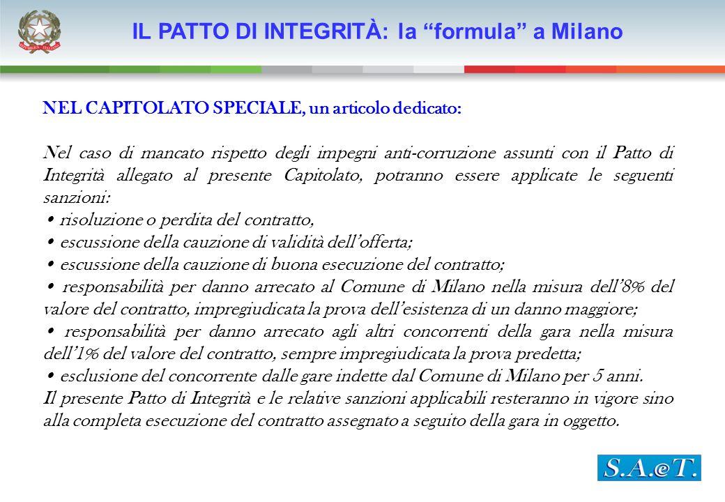 IL PATTO DI INTEGRITÀ IL PATTO DI INTEGRITÀ: la formula a Milano NEL CAPITOLATO SPECIALE, un articolo dedicato: Nel caso di mancato rispetto degli imp