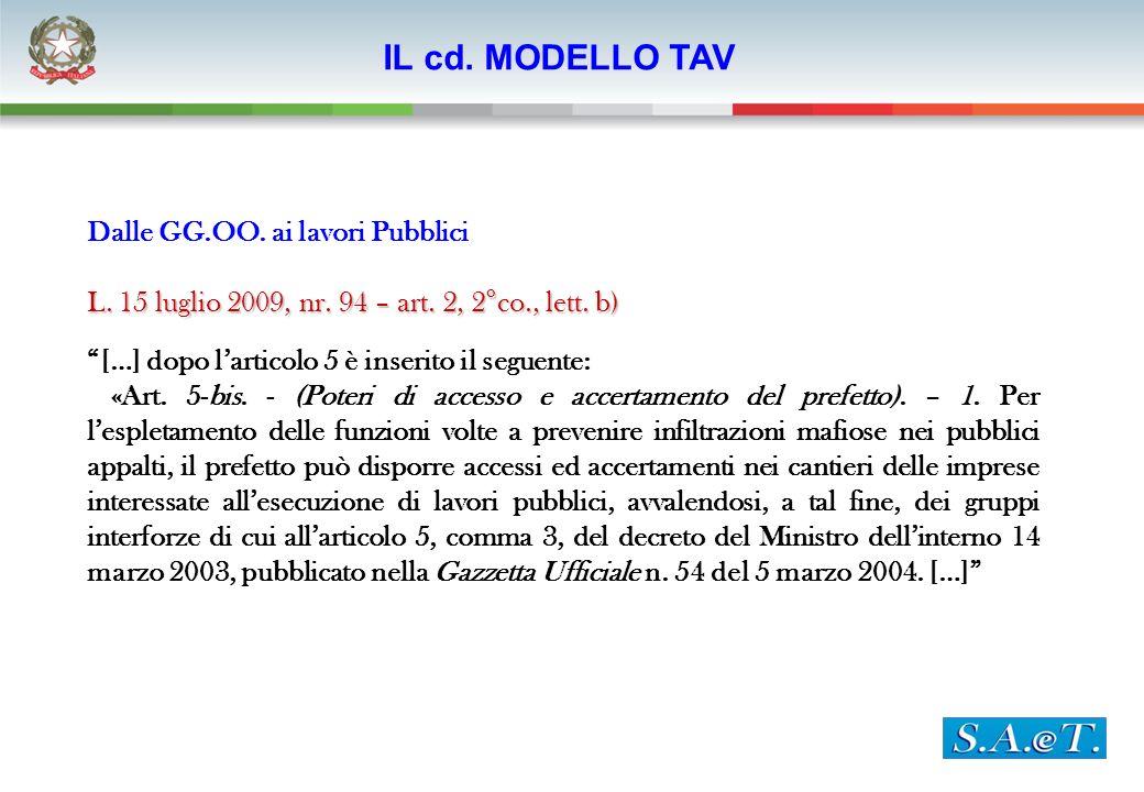Dalle GG.OO. ai lavori Pubblici L. 15 luglio 2009, nr. 94 – art. 2, 2°co., lett. b) […] dopo larticolo 5 è inserito il seguente: «Art. 5-bis. - (Poter