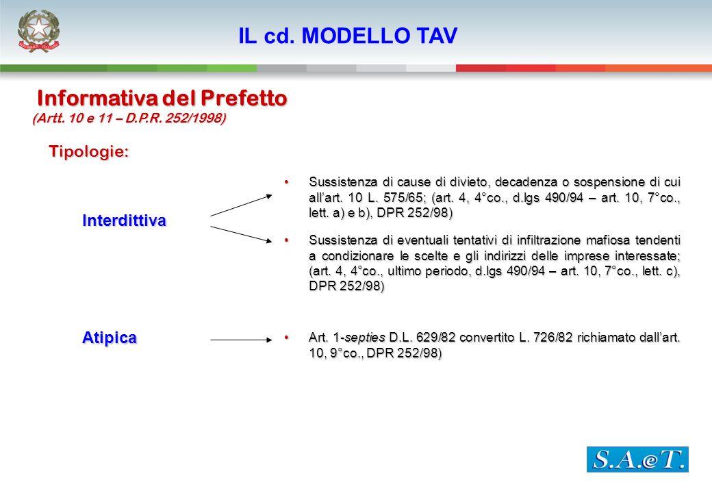 Informativa del Prefetto Tipologie: Interdittiva Atipica Sussistenza di cause di divieto, decadenza o sospensione di cui allart. 10 L. 575/65; (art. 4
