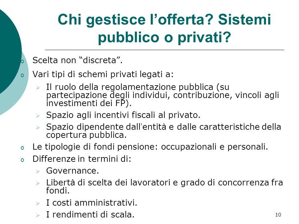 10 Chi gestisce lofferta.Sistemi pubblico o privati.
