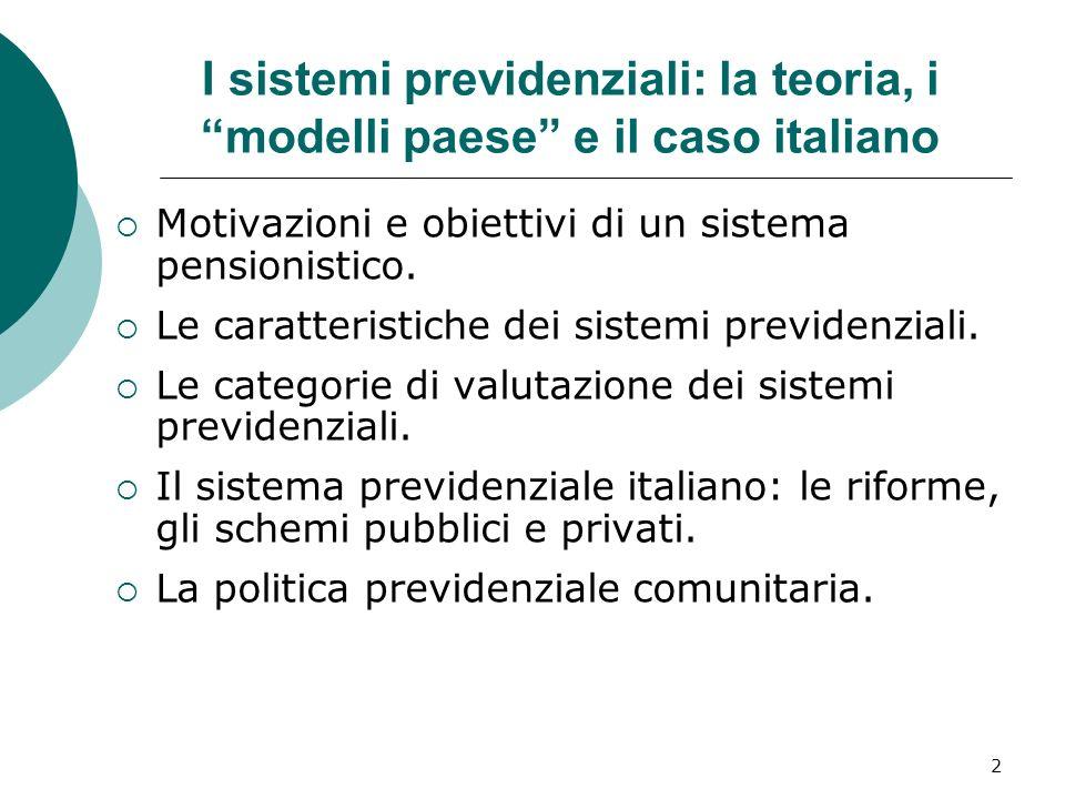 2 I sistemi previdenziali: la teoria, i modelli paese e il caso italiano Motivazioni e obiettivi di un sistema pensionistico.
