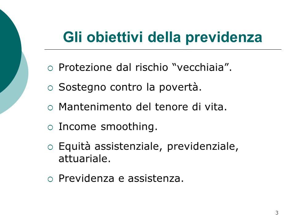 3 Gli obiettivi della previdenza Protezione dal rischio vecchiaia.