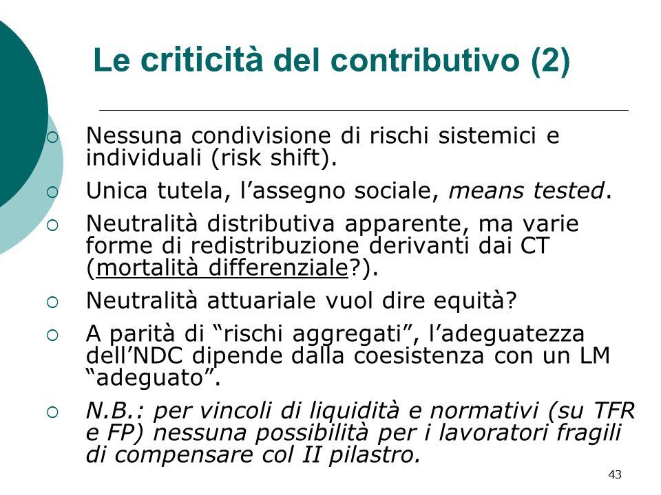 43 Le criticità del contributivo (2) Nessuna condivisione di rischi sistemici e individuali (risk shift).