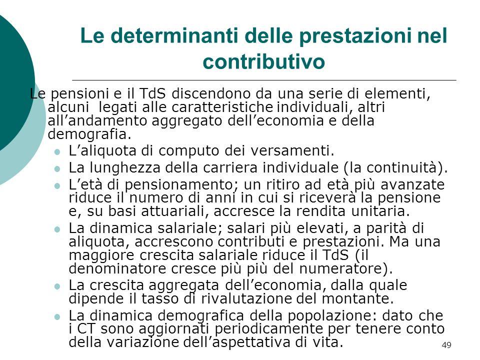 Le determinanti delle prestazioni nel contributivo Le pensioni e il TdS discendono da una serie di elementi, alcuni legati alle caratteristiche individuali, altri allandamento aggregato delleconomia e della demografia.