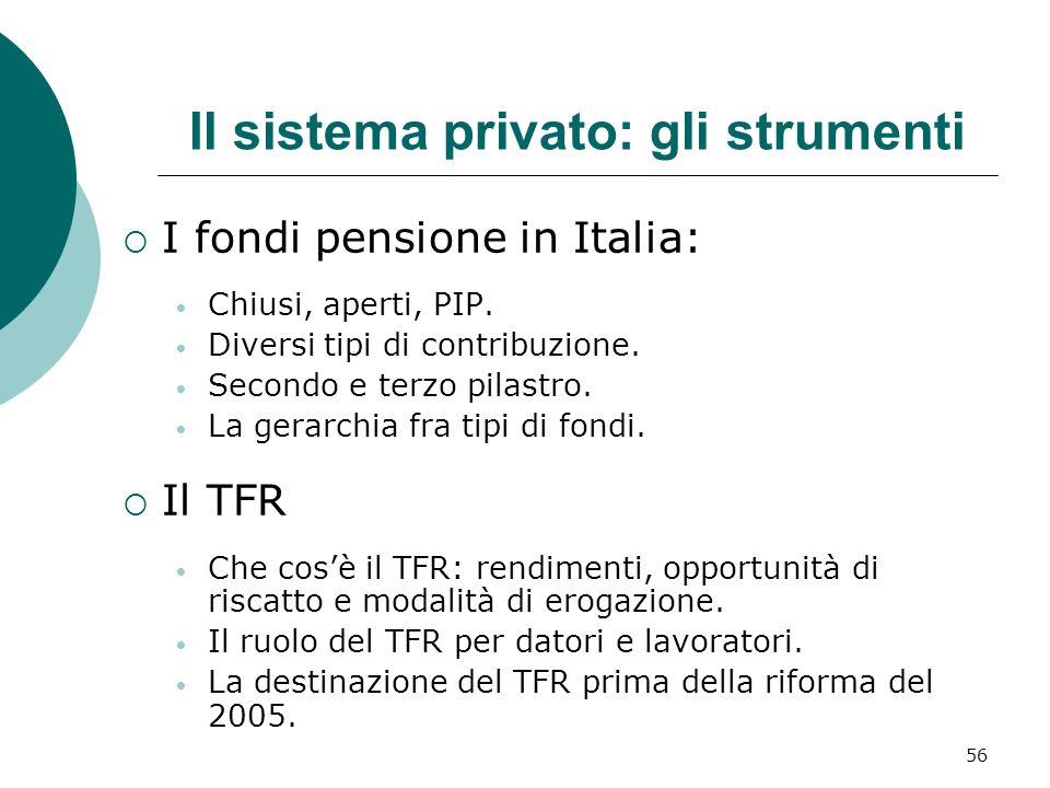 Il sistema privato: gli strumenti I fondi pensione in Italia: Chiusi, aperti, PIP.