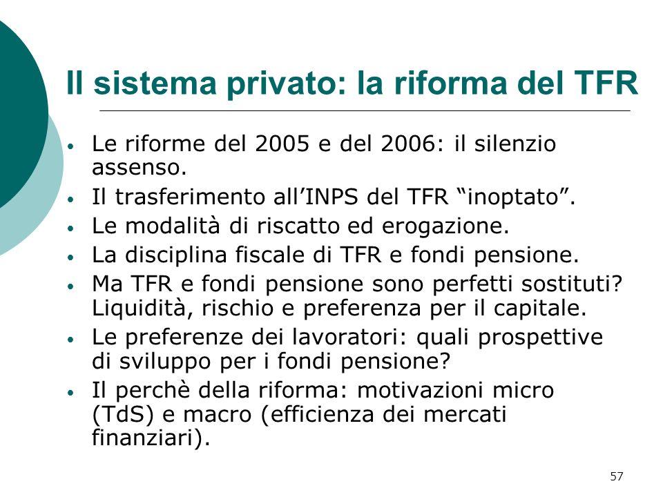 Il sistema privato: la riforma del TFR Le riforme del 2005 e del 2006: il silenzio assenso.