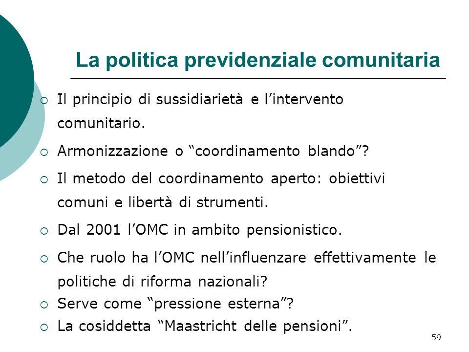 La politica previdenziale comunitaria Il principio di sussidiarietà e lintervento comunitario.