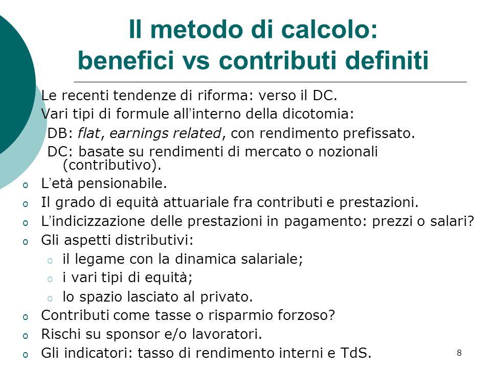8 Il metodo di calcolo: benefici vs contributi definiti o Le recenti tendenze di riforma: verso il DC.