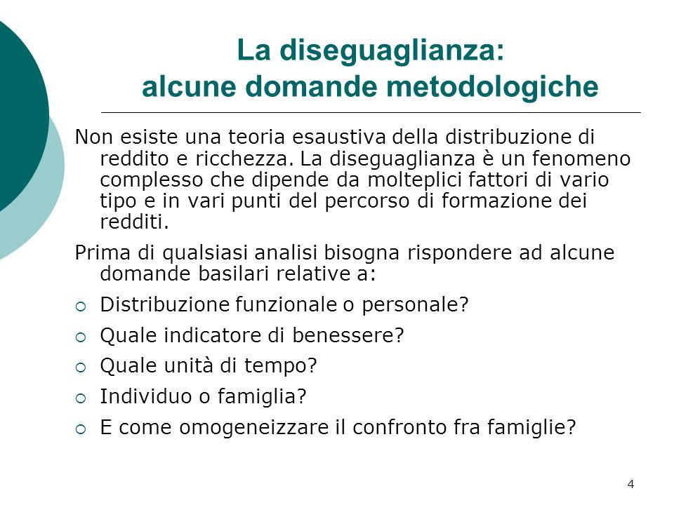 4 La diseguaglianza: alcune domande metodologiche Non esiste una teoria esaustiva della distribuzione di reddito e ricchezza. La diseguaglianza è un f