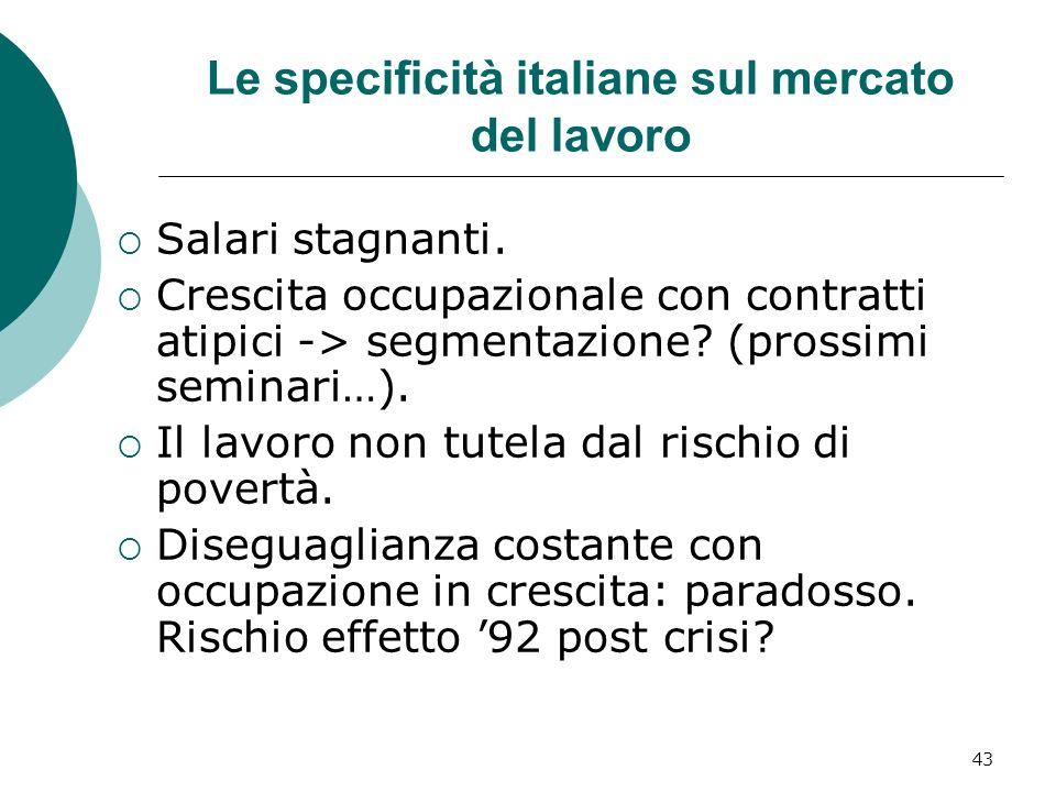 43 Le specificità italiane sul mercato del lavoro Salari stagnanti. Crescita occupazionale con contratti atipici -> segmentazione? (prossimi seminari…