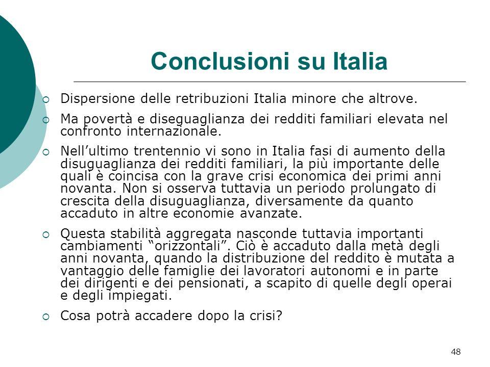 48 Conclusioni su Italia Dispersione delle retribuzioni Italia minore che altrove. Ma povertà e diseguaglianza dei redditi familiari elevata nel confr