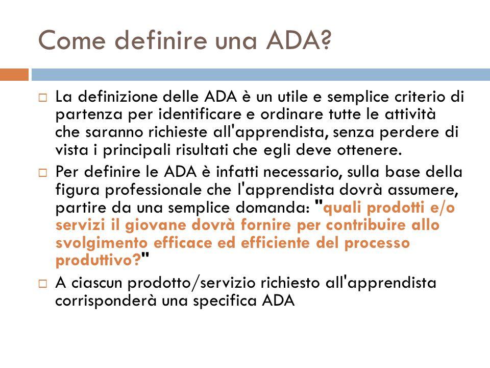 Come definire una ADA? La definizione delle ADA è un utile e semplice criterio di partenza per identificare e ordinare tutte le attività che saranno r