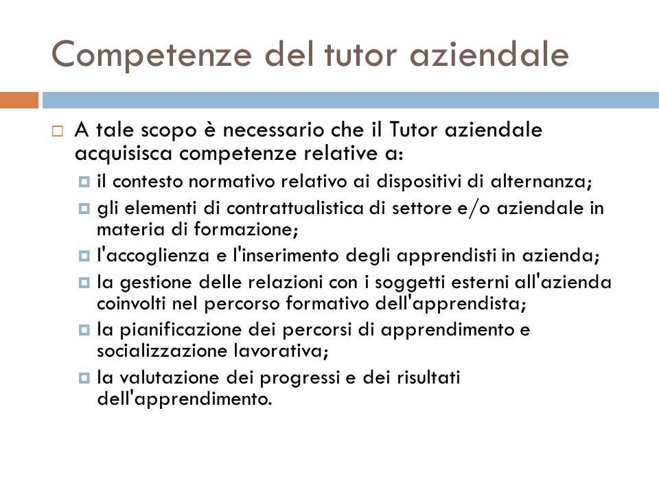 Competenze del tutor aziendale A tale scopo è necessario che il Tutor aziendale acquisisca competenze relative a: il contesto normativo relativo ai di