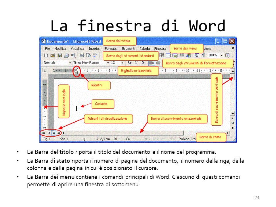 La finestra di Word La Barra del titolo riporta il titolo del documento e il nome del programma. La Barra di stato riporta il numero di pagine del doc