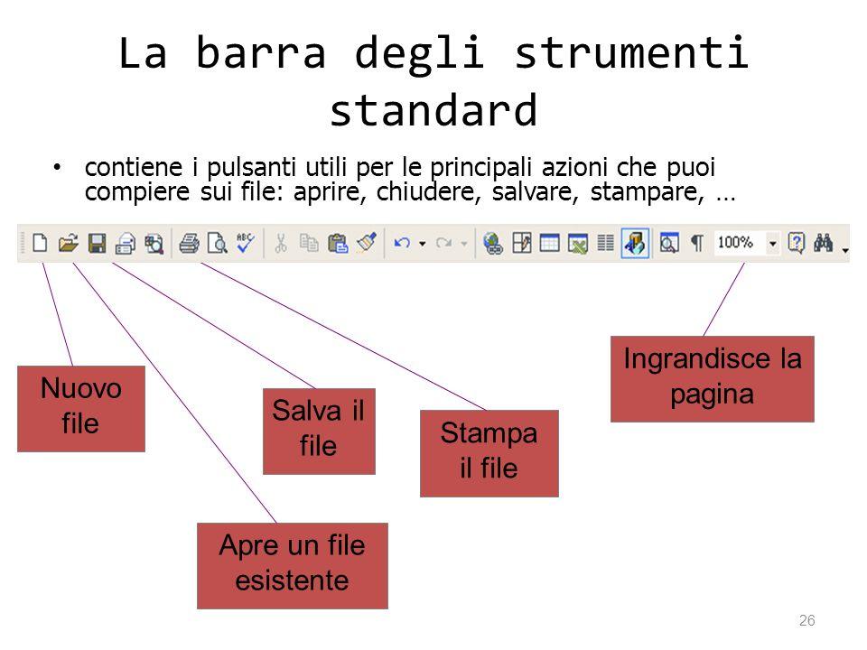 La barra degli strumenti standard contiene i pulsanti utili per le principali azioni che puoi compiere sui file: aprire, chiudere, salvare, stampare,