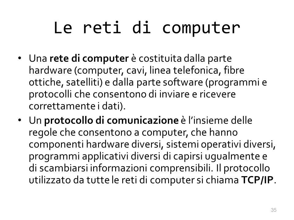 Le reti di computer Una rete di computer è costituita dalla parte hardware (computer, cavi, linea telefonica, fibre ottiche, satelliti) e dalla parte
