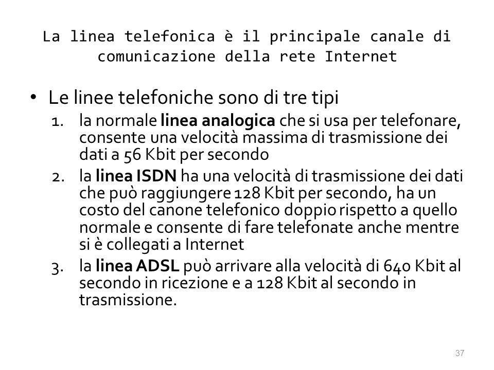 La linea telefonica è il principale canale di comunicazione della rete Internet Le linee telefoniche sono di tre tipi 1.la normale linea analogica che