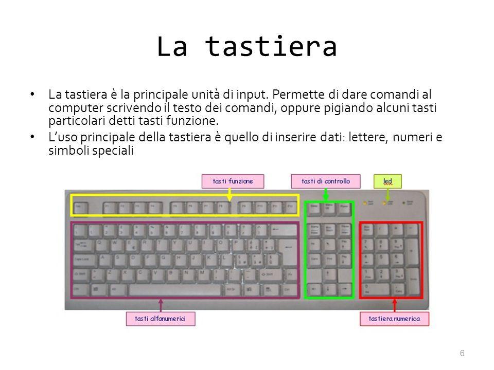 La tastiera La tastiera è la principale unità di input. Permette di dare comandi al computer scrivendo il testo dei comandi, oppure pigiando alcuni ta