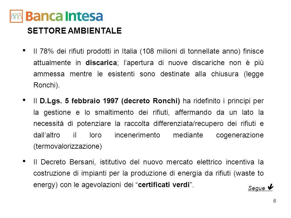 7 SETTORE AMBIENTALE ITALIA La potenzialità effettiva degli attuali impianti di combustione RSU è pari a circa 2,5 milioni di t/anno, ossia ca.