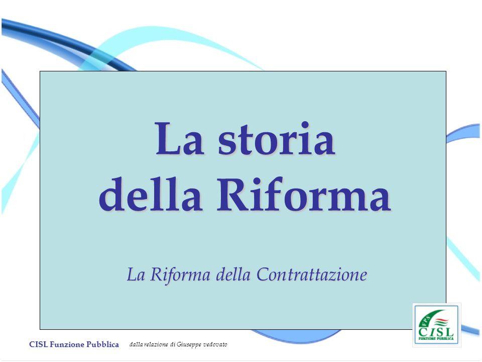 CISL Funzione Pubblica dalla relazione di Giuseppe vedovato La storia della Riforma La Riforma della Contrattazione