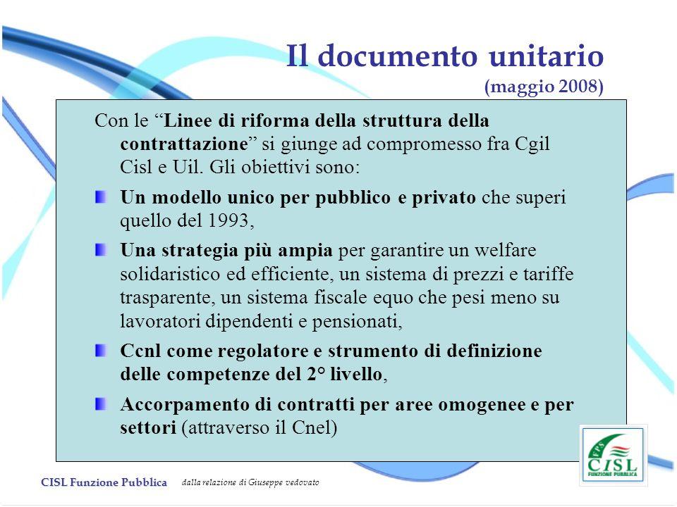 CISL Funzione Pubblica dalla relazione di Giuseppe vedovato Il documento unitario (maggio 2008) Con le Linee di riforma della struttura della contrattazione si giunge ad compromesso fra Cgil Cisl e Uil.