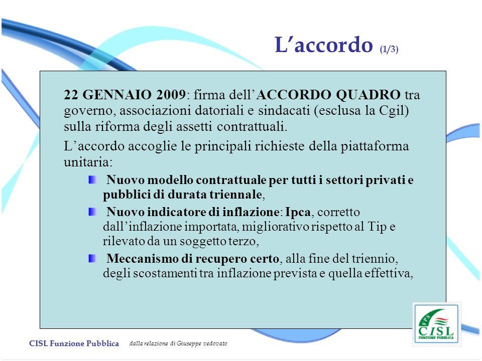 CISL Funzione Pubblica dalla relazione di Giuseppe vedovato Laccordo (1/3) 22 GENNAIO 2009: firma dellACCORDO QUADRO tra governo, associazioni datoriali e sindacati (esclusa la Cgil) sulla riforma degli assetti contrattuali.