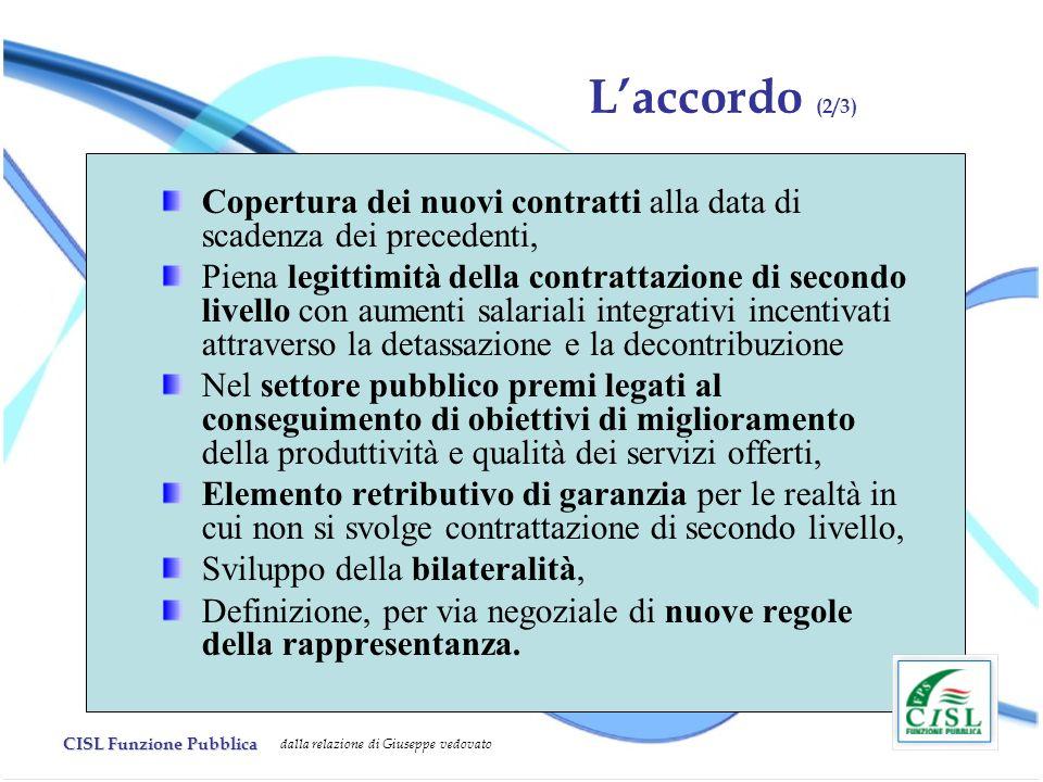 CISL Funzione Pubblica dalla relazione di Giuseppe vedovato Copertura dei nuovi contratti alla data di scadenza dei precedenti, Piena legittimità dell