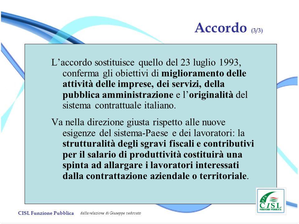 CISL Funzione Pubblica dalla relazione di Giuseppe vedovato Accordo (3/3) Laccordo sostituisce quello del 23 luglio 1993, conferma gli obiettivi di miglioramento delle attività delle imprese, dei servizi, della pubblica amministrazione e loriginalità del sistema contrattuale italiano.