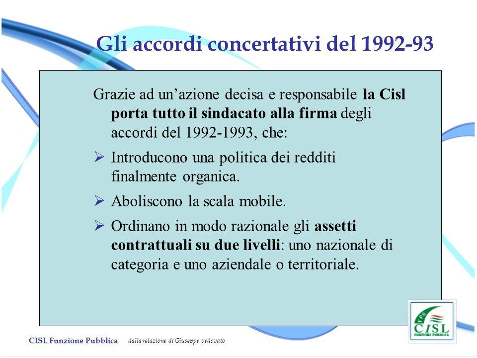 CISL Funzione Pubblica dalla relazione di Giuseppe vedovato Gli accordi concertativi del 1992-93 Grazie ad unazione decisa e responsabile la Cisl port