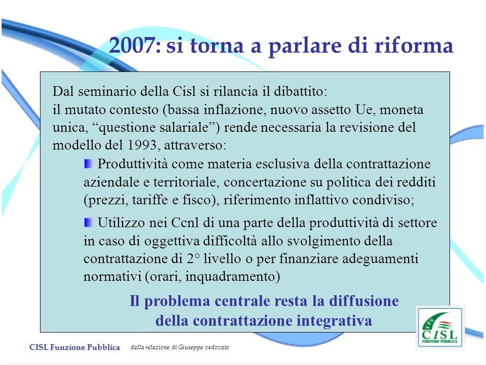 CISL Funzione Pubblica dalla relazione di Giuseppe vedovato 2007: si torna a parlare di riforma Dal seminario della Cisl si rilancia il dibattito: il