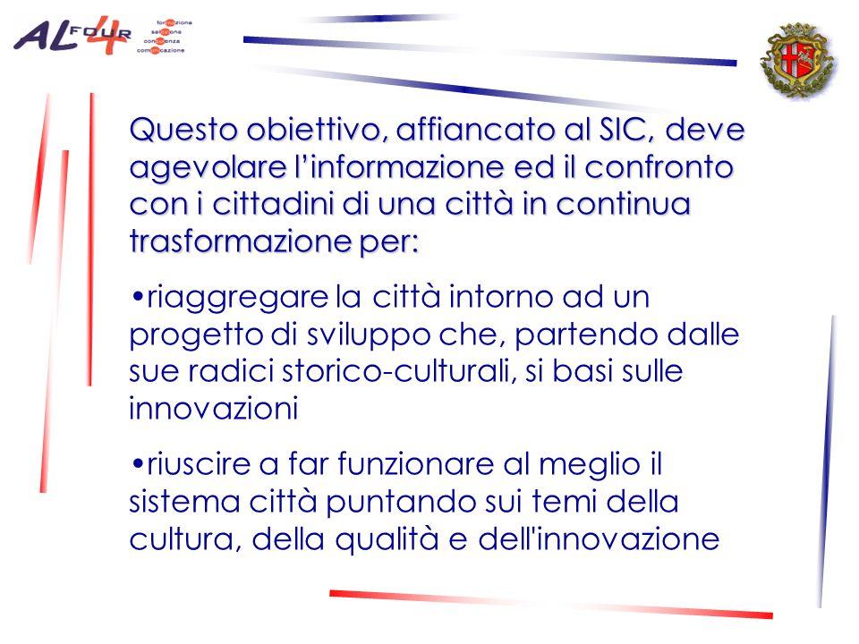 Questo obiettivo, affiancato al SIC, deve agevolare linformazione ed il confronto con i cittadini di una città in continua trasformazione per: riaggregare la città intorno ad un progetto di sviluppo che, partendo dalle sue radici storico-culturali, si basi sulle innovazioni riuscire a far funzionare al meglio il sistema città puntando sui temi della cultura, della qualità e dell innovazione