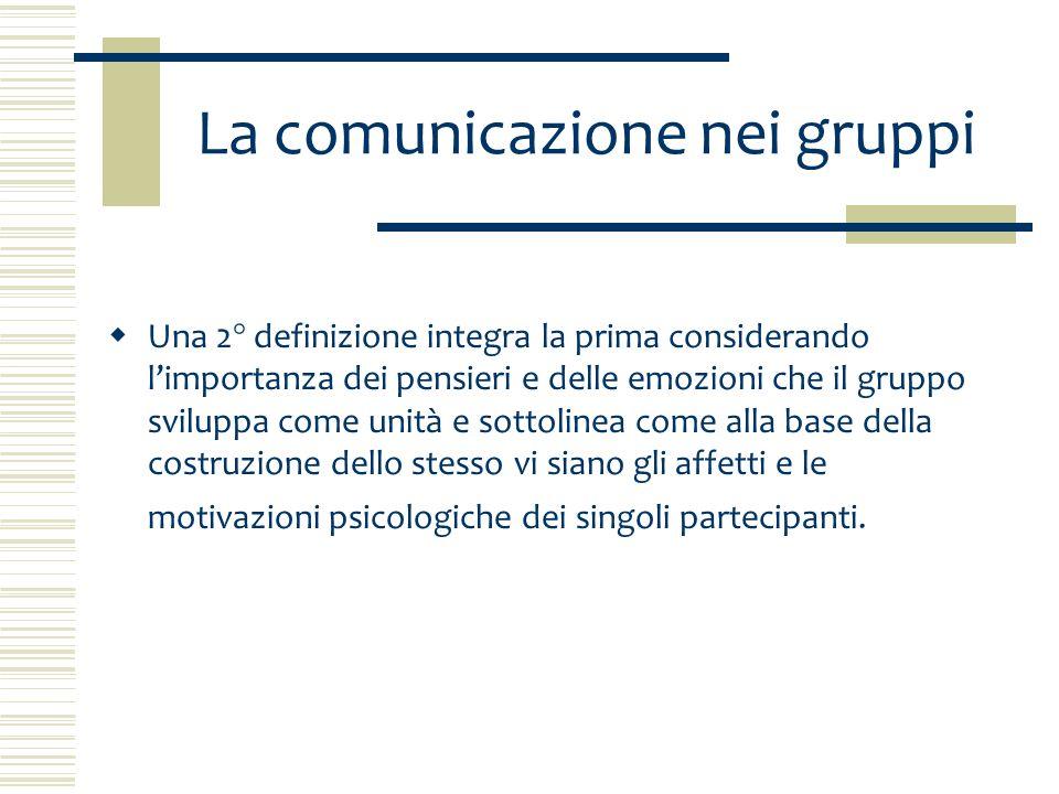 La comunicazione nei gruppi La comunicazione si esprime sia nelle relazioni a due sia in quelle di gruppo: è qualcosa di più o, per meglio dire, qualcosa di diverso dalla somma dei suoi membri: ha una struttura propria e relazioni particolari con altri gruppi.