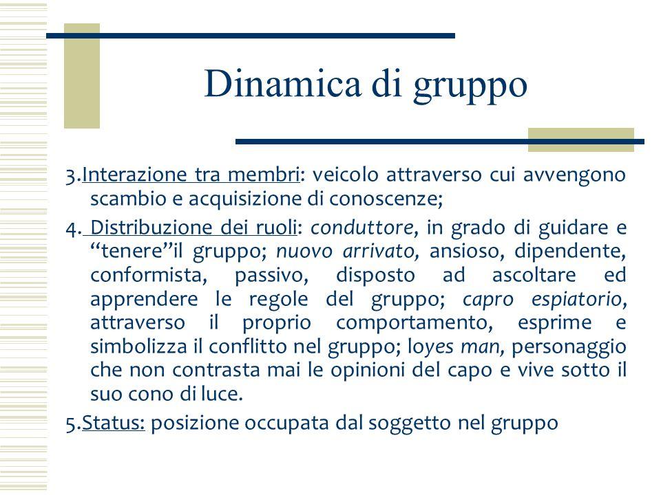 Dinamica di gruppo La dinamica comprende i processi che riguardano la vita del gruppo.