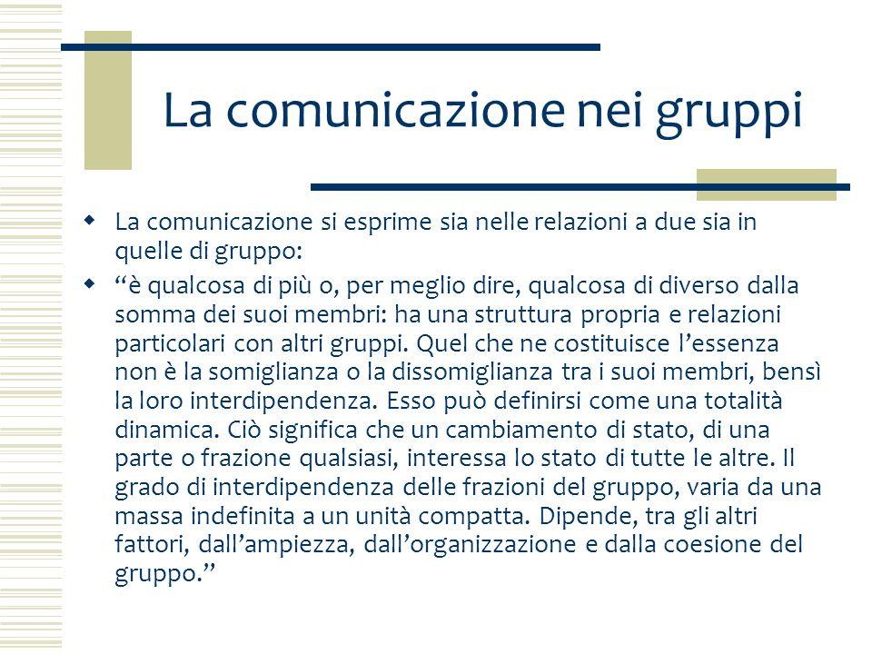 Caratteristiche del gruppo 1.interdipendenza tra i suoi membri; 2.