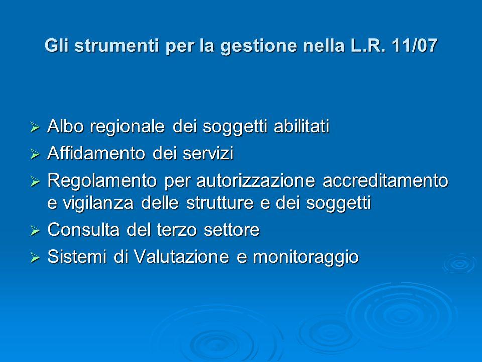 Gli strumenti per la gestione nella L.R. 11/07 Albo regionale dei soggetti abilitati Albo regionale dei soggetti abilitati Affidamento dei servizi Aff