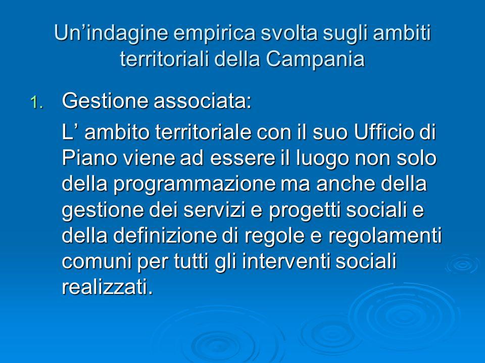 Unindagine empirica svolta sugli ambiti territoriali della Campania 1. Gestione associata: L ambito territoriale con il suo Ufficio di Piano viene ad
