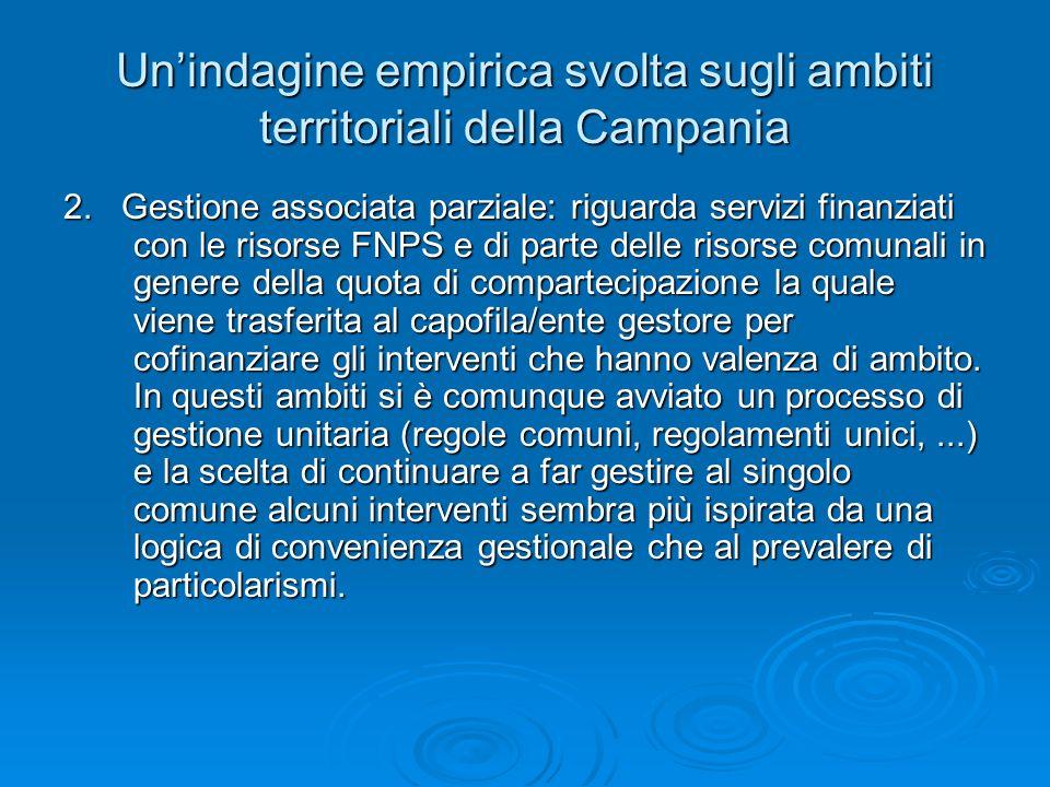 Unindagine empirica svolta sugli ambiti territoriali della Campania 2. Gestione associata parziale: riguarda servizi finanziati con le risorse FNPS e