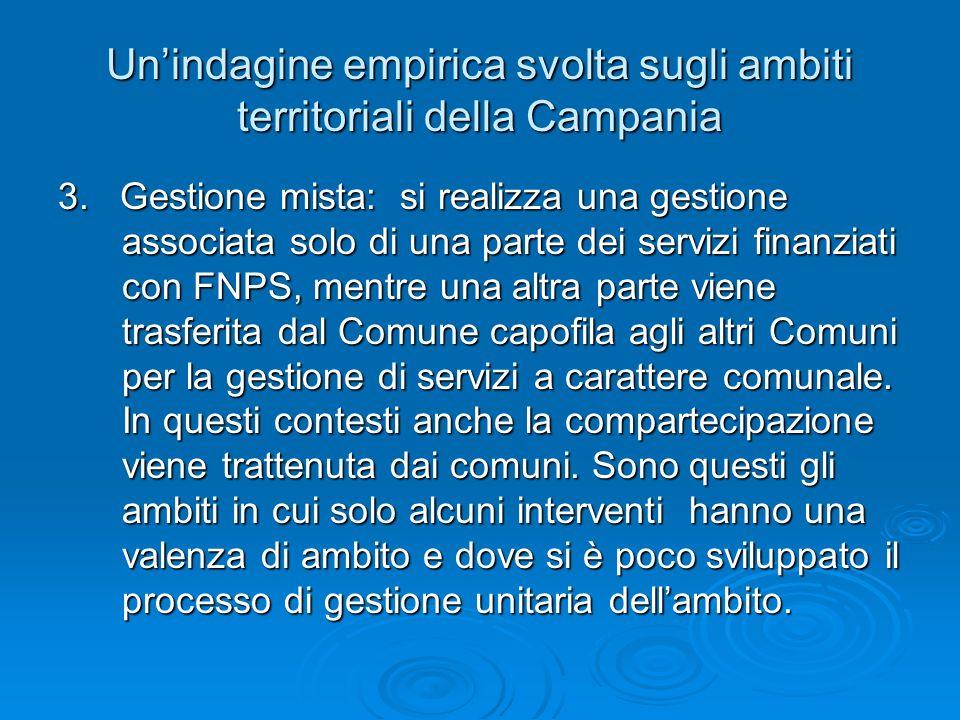 Unindagine empirica svolta sugli ambiti territoriali della Campania 3. Gestione mista: si realizza una gestione associata solo di una parte dei serviz
