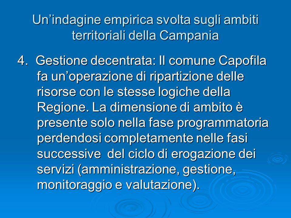 Unindagine empirica svolta sugli ambiti territoriali della Campania 4. Gestione decentrata: Il comune Capofila fa unoperazione di ripartizione delle r
