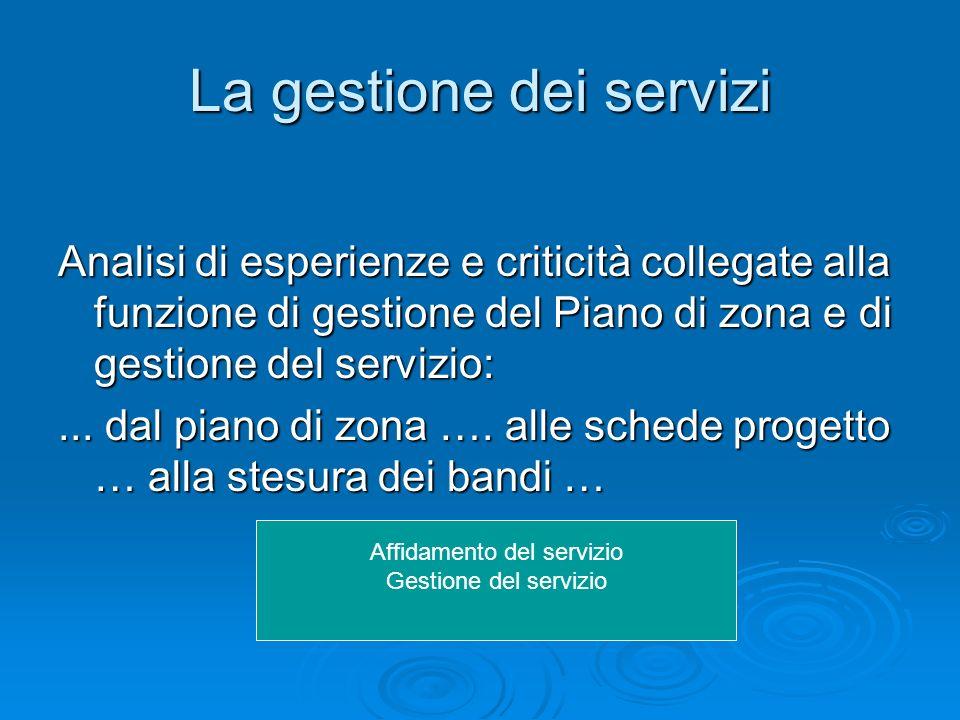 La gestione dei servizi Analisi di esperienze e criticità collegate alla funzione di gestione del Piano di zona e di gestione del servizio:... dal pia